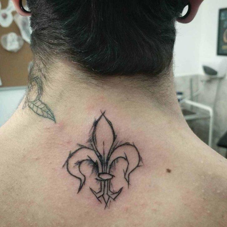 Fleur De Lis Back of Neck Tattoo