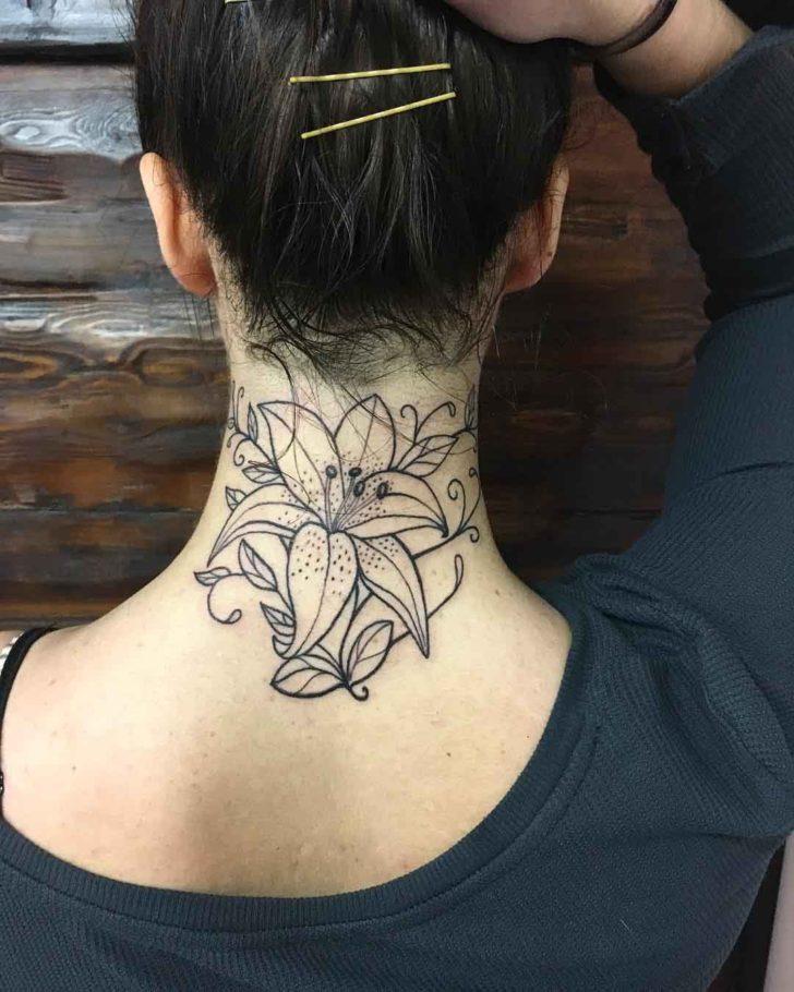 Flower Linework Back of Neck Tattoo