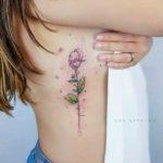 Flower Tattoo on Ribs