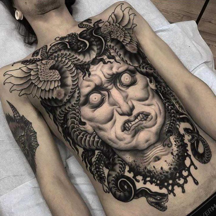 medusa tattoo on torso