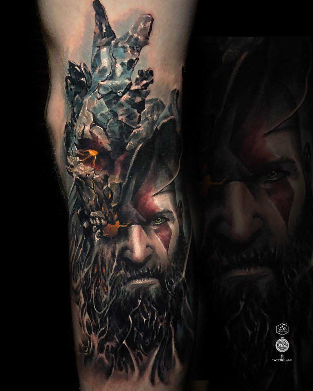 realistic god of war tattoo
