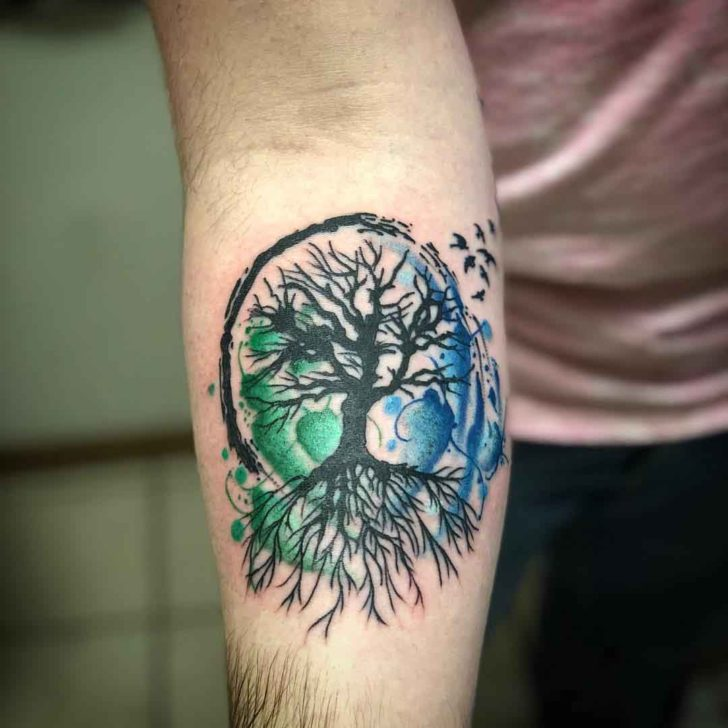 Green and Blue Tree of Life Tattoo