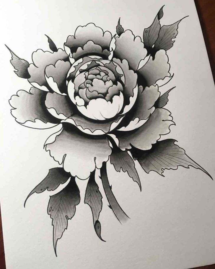 Grey Carnation Flower Tattoo