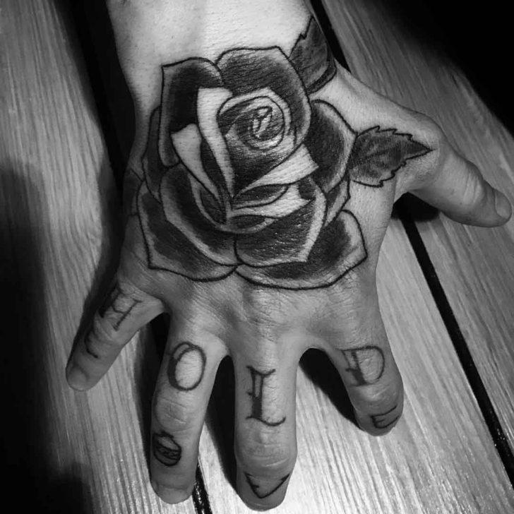 Grey Rose Hand Tattoo