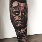 Hellboy Tattoo on Calf