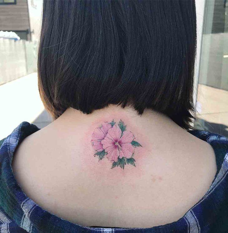 Hibiscus Back of Neck Tattoo