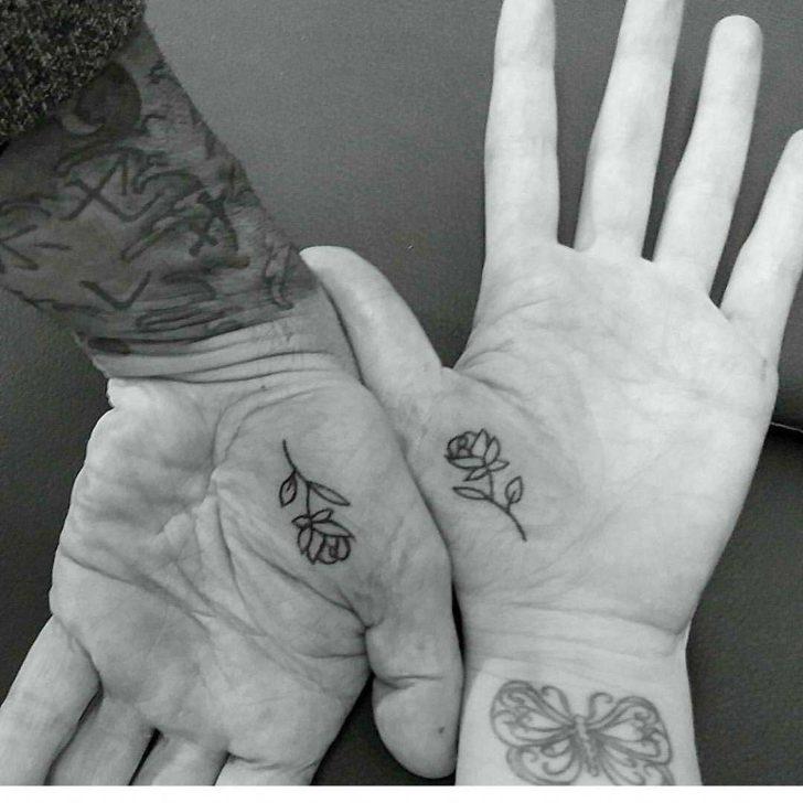 Inner Hand Rose Tattoos Couple