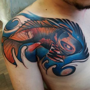 Interesting Koi Fish Tattoo