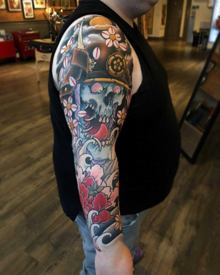 japanese tattoo sleeve skeleton