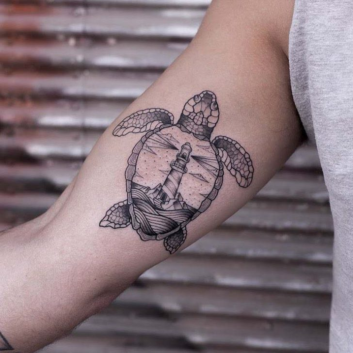 Lightgouse Sea Turtle Tattoo