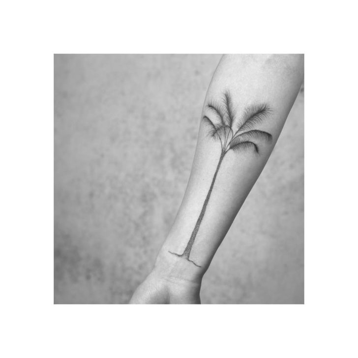 Long Palm Tree Tattoo