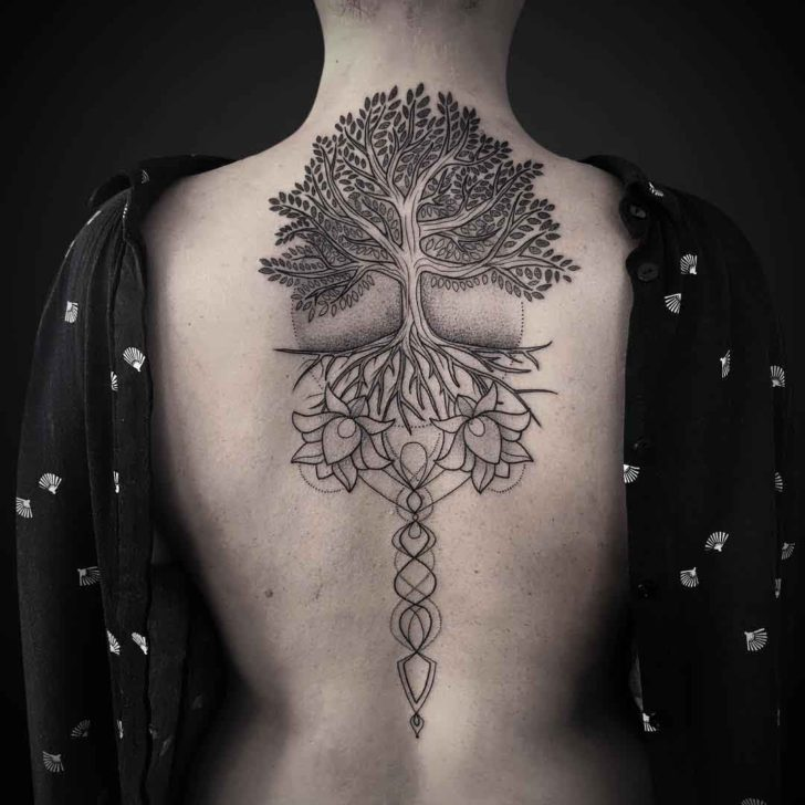 Lotuses Tree of Life Tattoo on Back