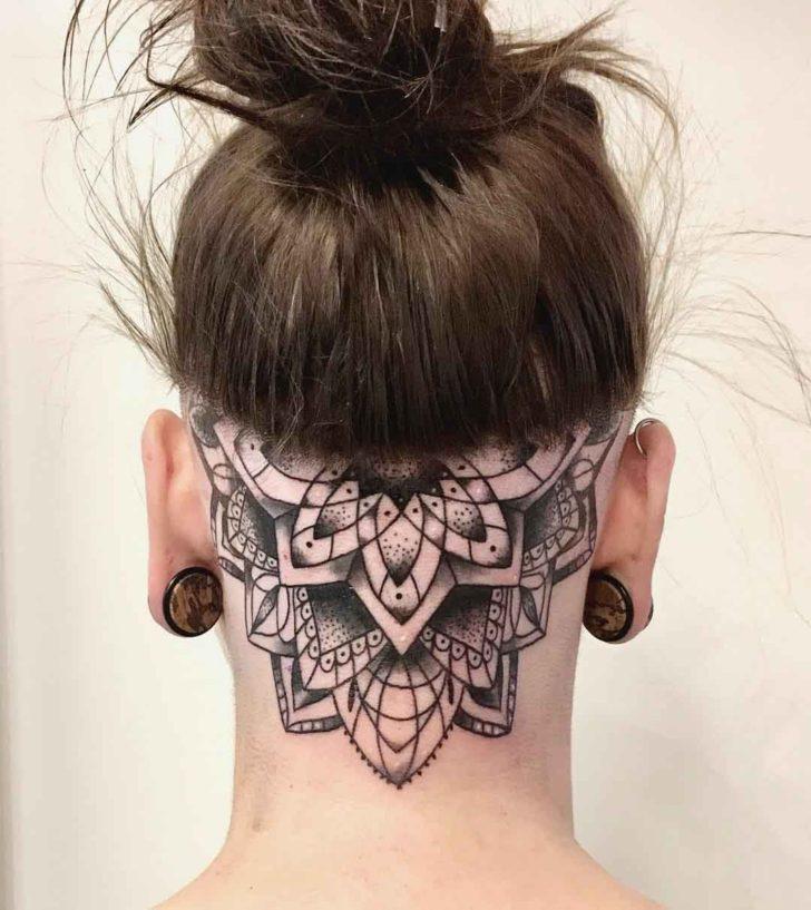 Mandala Back of Neck Tattoo