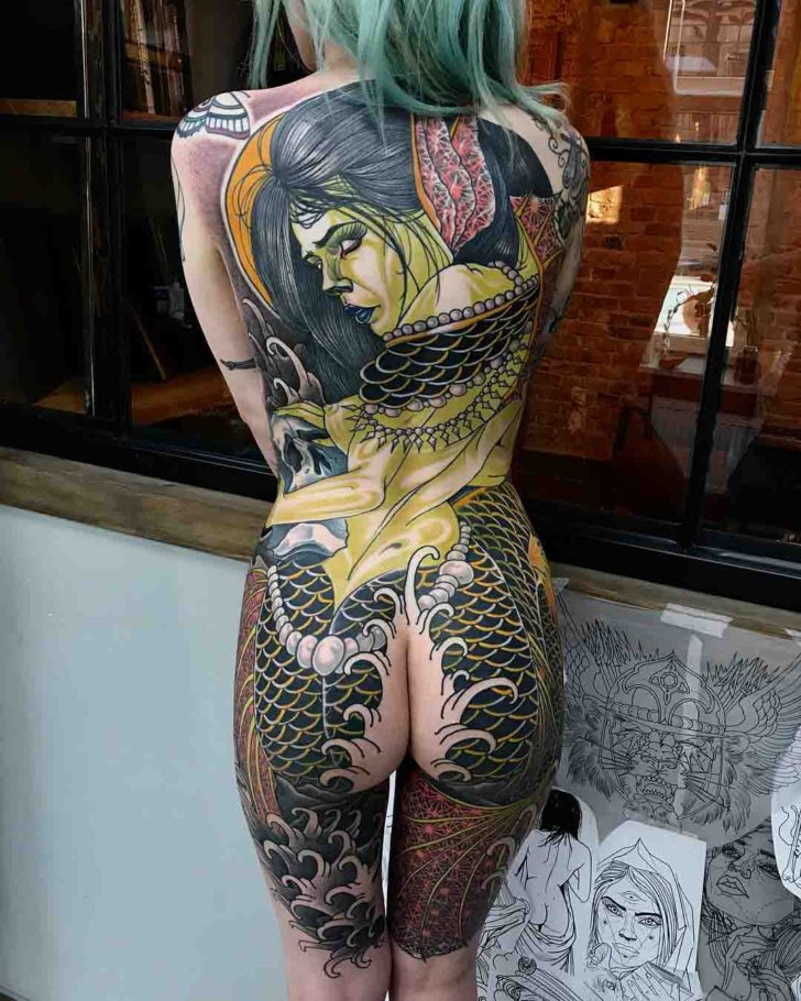 girl tattoo mermaid on back