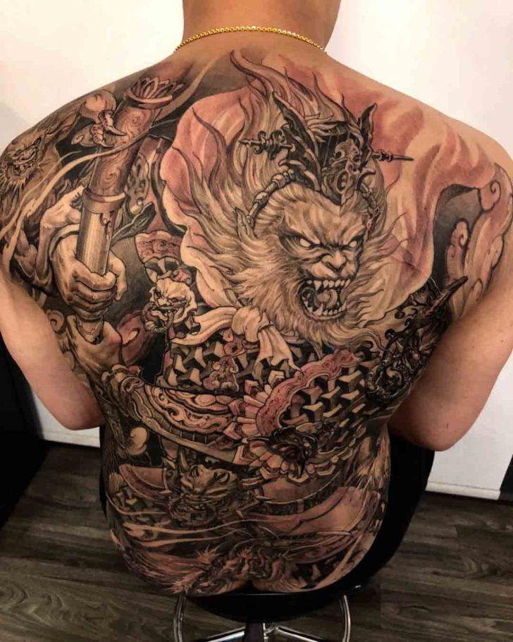 back tattoo monkey king