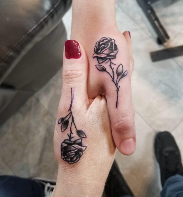 Mother and Daughter Rose Hand Tattoo