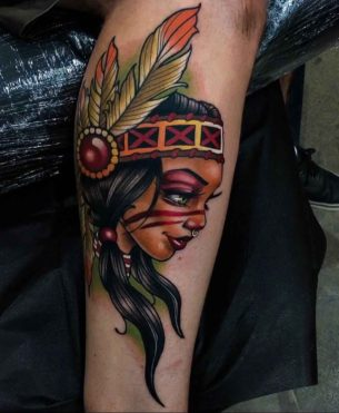 New School Tattoo Indian Girl