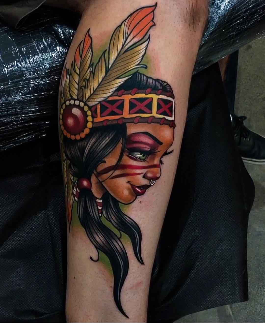 native indian girl tattoo new school style