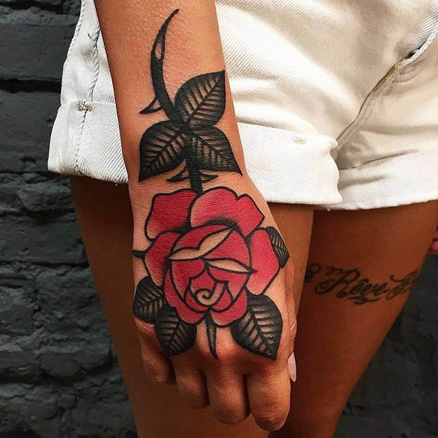 Old School Rose Hand Tattoo