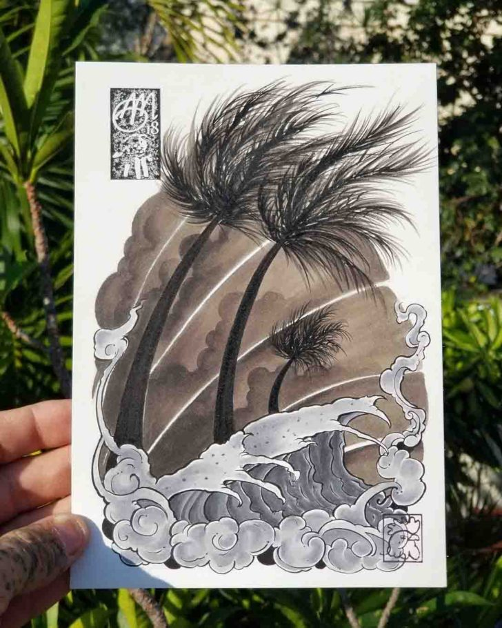 Oriental Palm Tree Tattoo Design