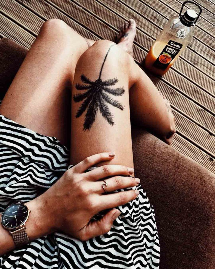 Palm Tree Tattoo Above Knee