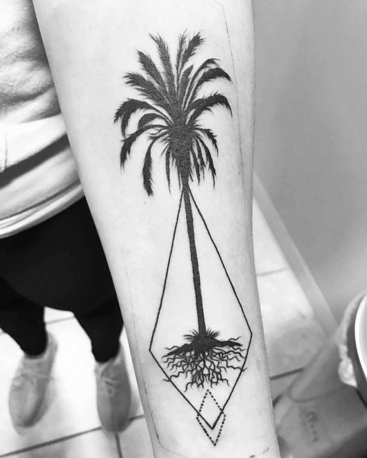 Palm Tree Tattoo Blackwork