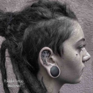 Polygonal Ear Tattoo