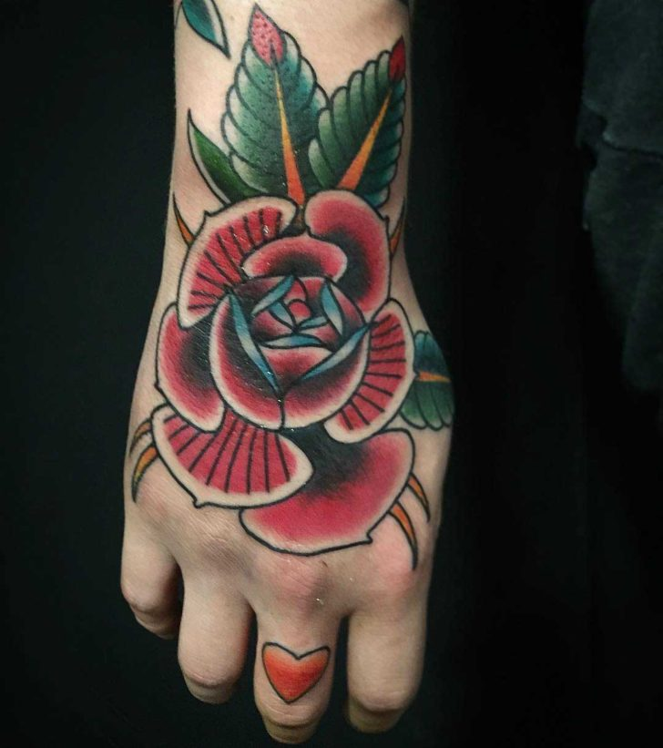 Pure Traditional Rose Hand Tattoo