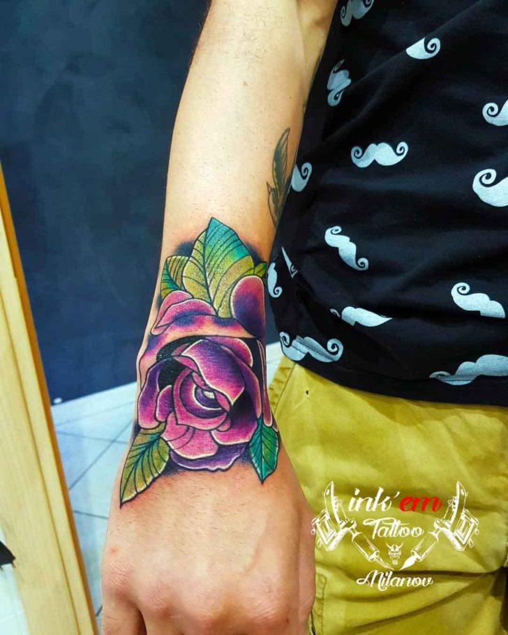Purple Rose Hand Tattoo