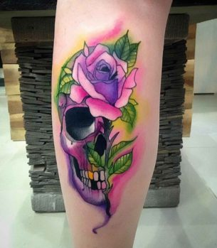 Purple Skull Rose Tattoo