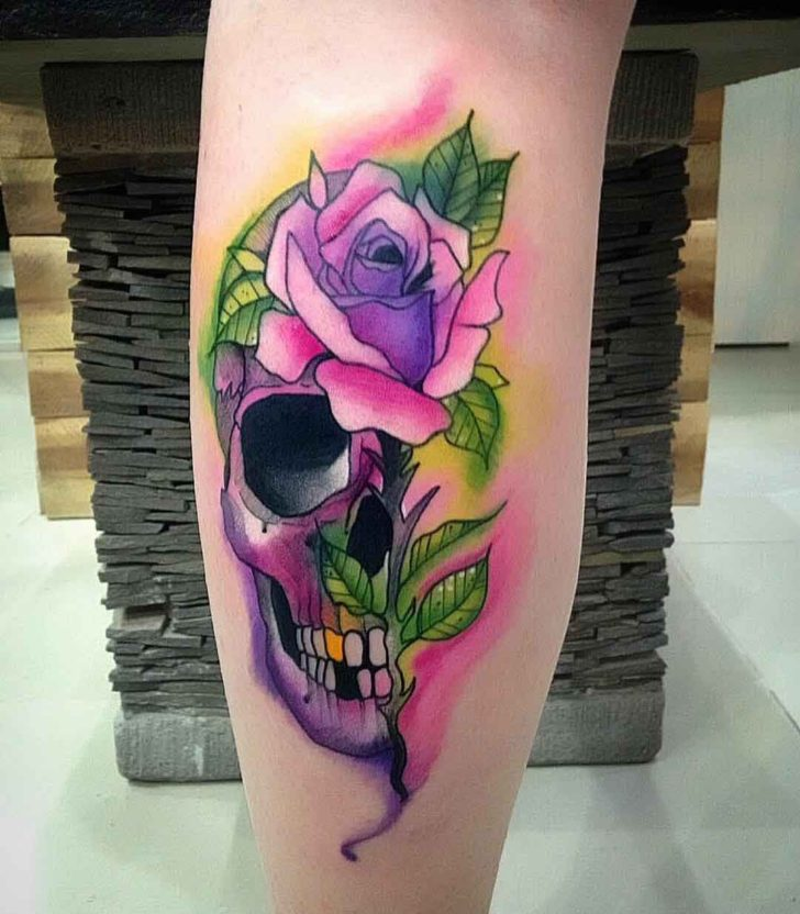 calf tattoo skull tattoo rose purple