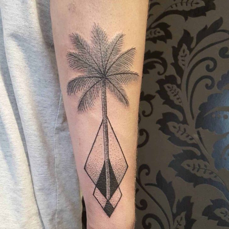 Rhombus Palm Tree Tattoo