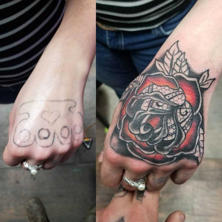 Rose Hand Tattoo Cover Up