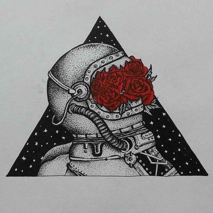Roses Astronaut Tattoo