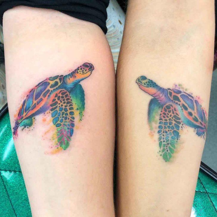 Sea Turtle Matching Sisters Tattoos