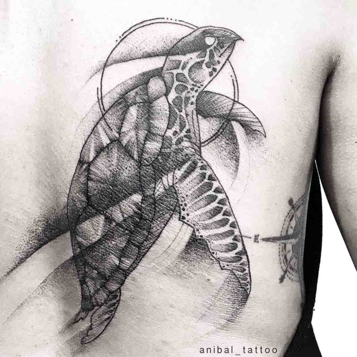 Sea Turtle Tattoo Black and Grey