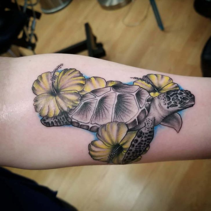 Sea Turtle Tattoo and Flowers
