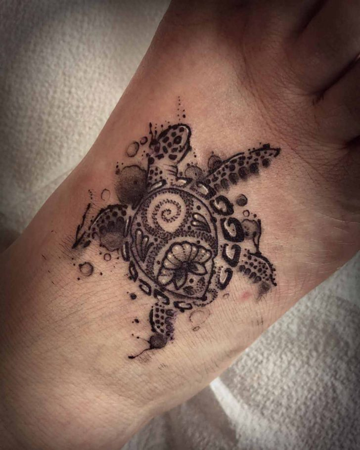 Sea Turtle Tattoo on Foot