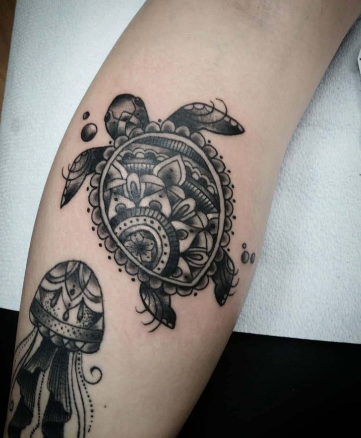 Shell Mandala Sea Turtle Tattoo