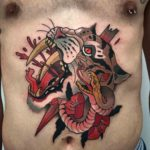 Snake and Caugar Tattoo on Stomach