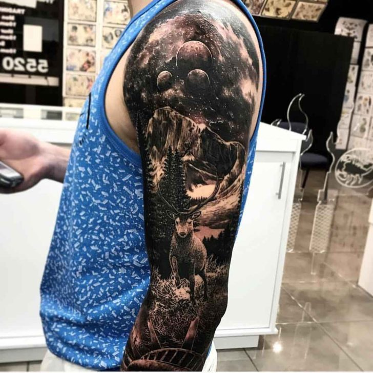 shoulder tattoo sleeve space landscape