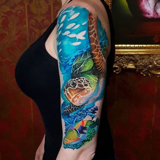 Swimming Sea Turtle Tattoo
