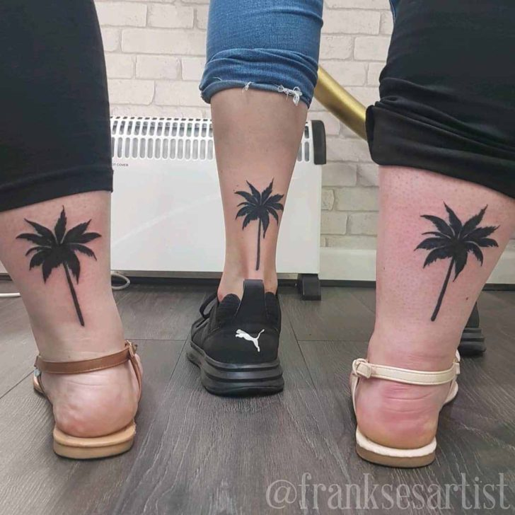 Three Black Palm Tattoos