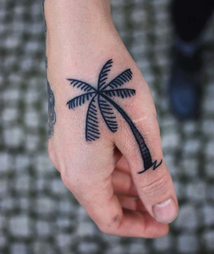Thumb Palm Tree Tattoo