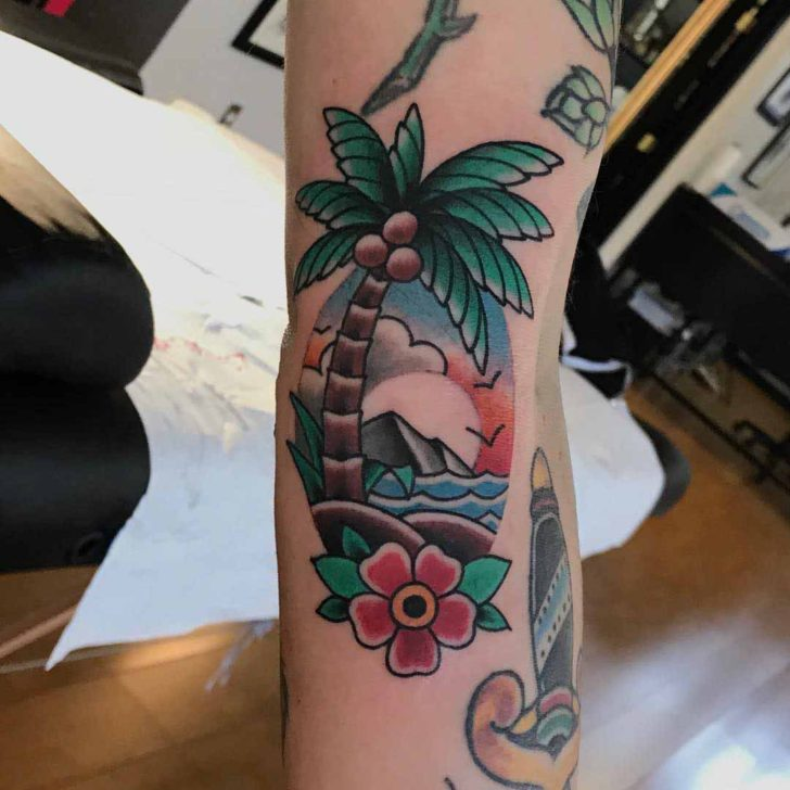 Traditional Palm Tree Tattoo