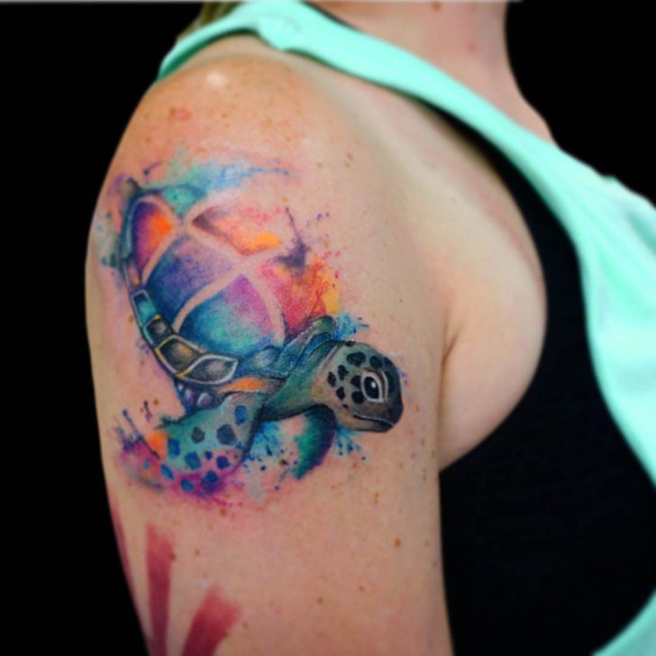 Watercolor Sea Turtle Tattoo on Shoulder