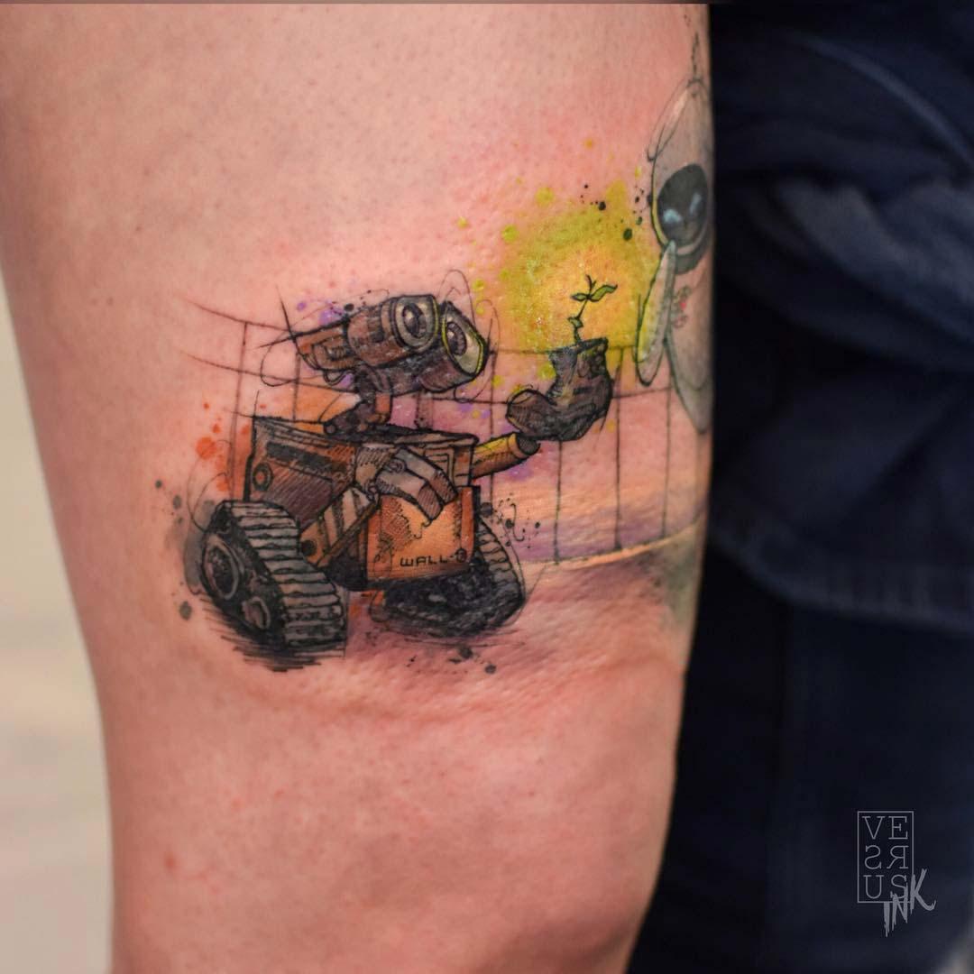 Wall-E tattoo watercolor style