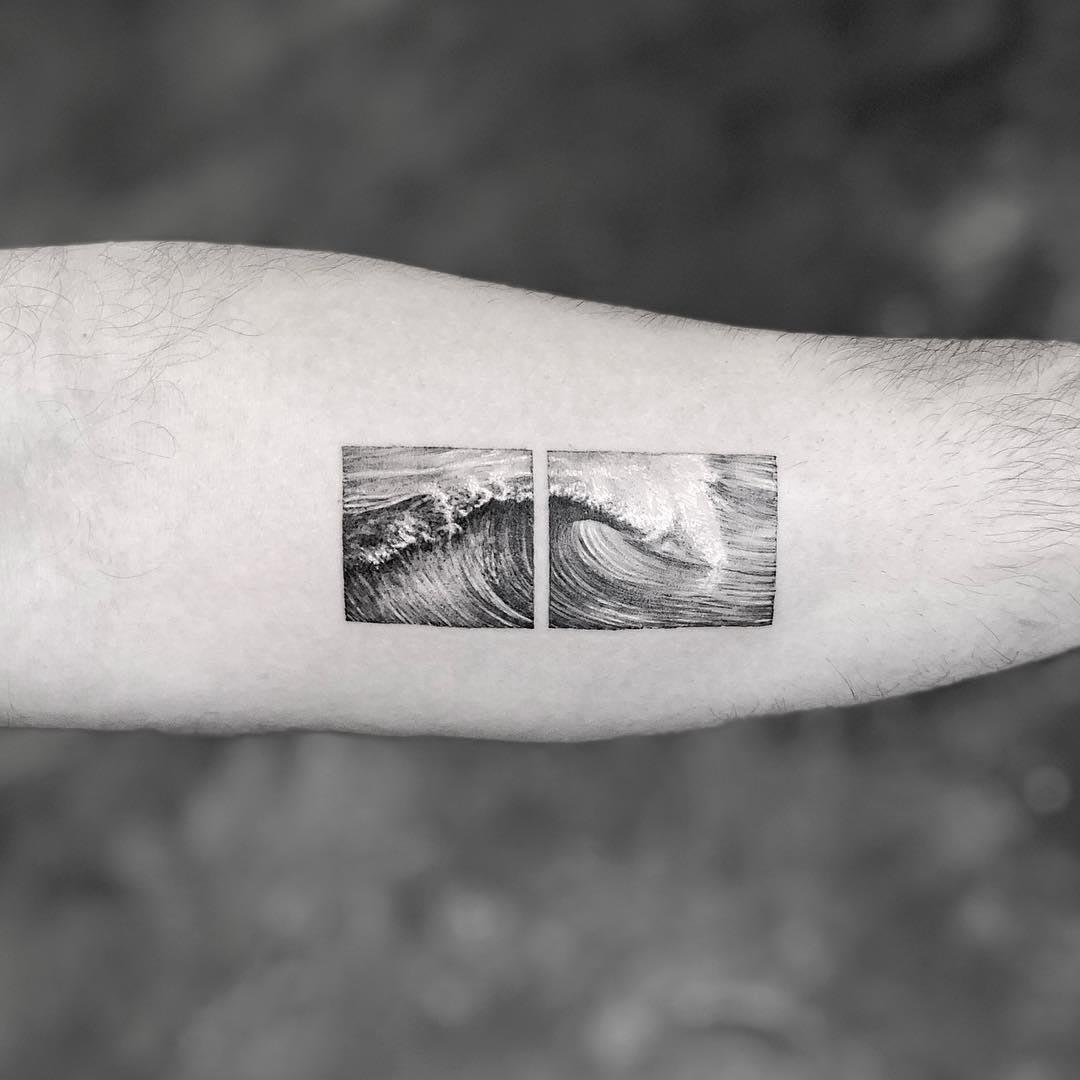 arm tattoo wave