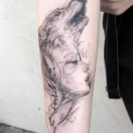 Sketchy Wolf & Girl Tattoo