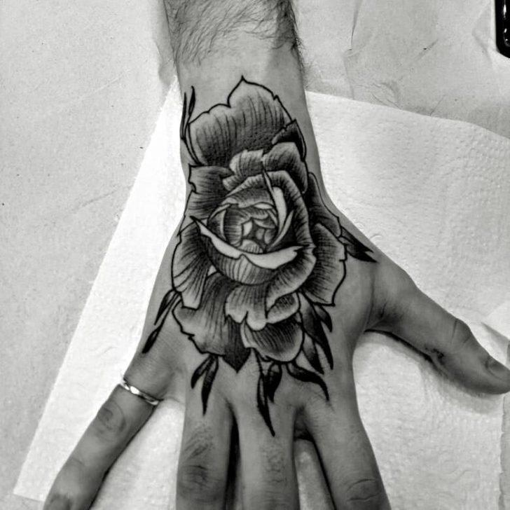 Wrist Rose Hand Tattoo